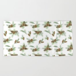 pine branches and cones pattern Beach Towel