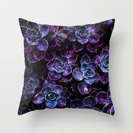 Sparkle Succulents Purple Blue Aqua Throw Pillow
