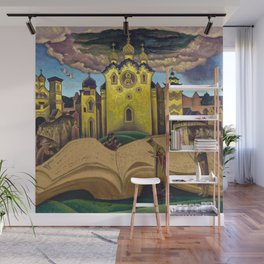 The Book of the Doves, magical realism Italian renaissance cityscape painting by Nicholas Roerich Wall Mural