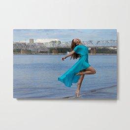 Beautiful woman dancing at the sea. Metal Print