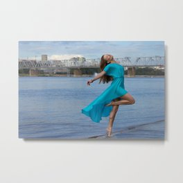 Beautiful woman dancing at the sea. Metal Print