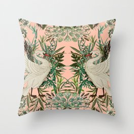 Romantic Swan Throw Pillow