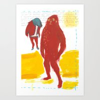 bigfoot Art Prints featuring Bigfoot by ellen marie bae