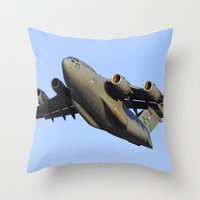 aviation Throw Pillows featuring C-17 Globemaster Aviation USAF Take Off by Aviator