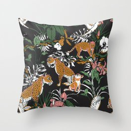 Leopards at night Throw Pillow