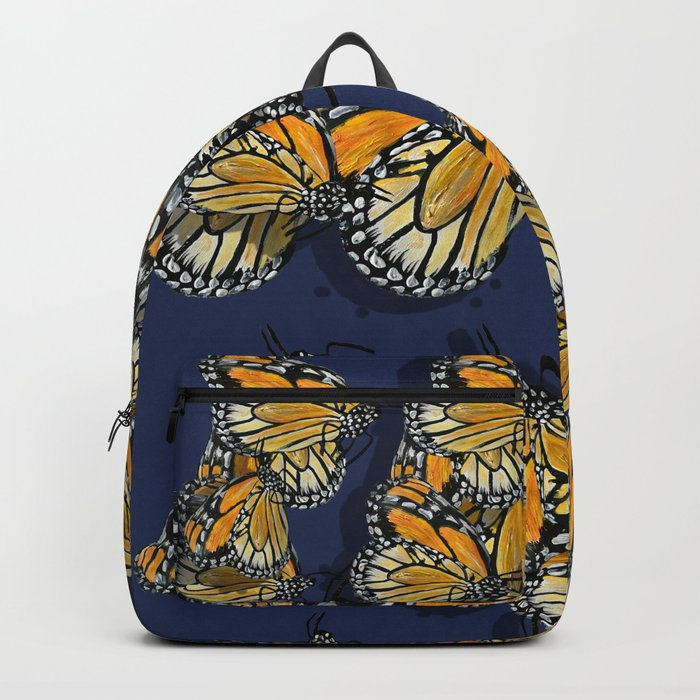 Butterfly Frenzy Spring Navy Backpack