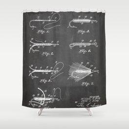 Fly Fishing Patent - Fisherman Art - Black Chalkboard Shower Curtain