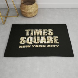 Times Square New York City (golden glow on black) Rug