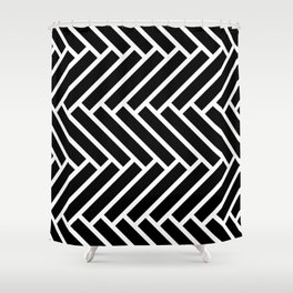 Black and white herringbone pattern Shower Curtain