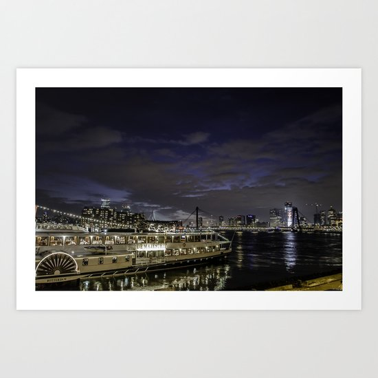 Boat in front of Rotterdam Skyline  Art Print