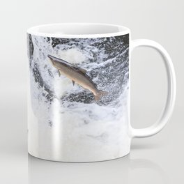 Two salmon leaping up the waterfall Coffee Mug