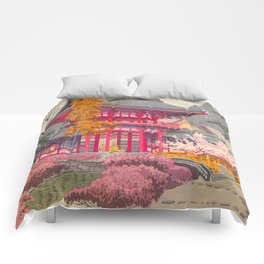 Japanese Woodblock Print Vintage Bright East Asian Red Pagoda Spring Garden Comforters