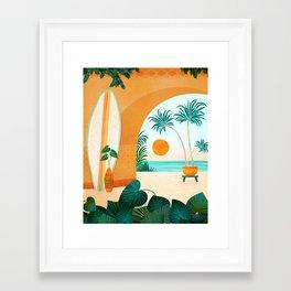 Seaside Surf Retreat / Tropical Landscape Framed Art Print