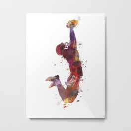american football player catching ball  silhouette Metal Print