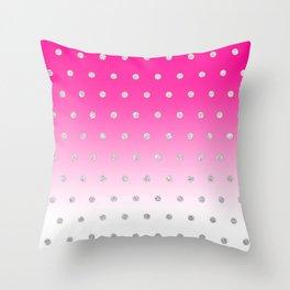 Girly Modern Glitter Polka Dots Neon Pink Ombre Throw Pillow