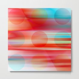 Right Foot Red - Red aqua abstract dots and stripes Metal Print