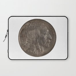 Pristine Indian Buffalo Nickel on white background Laptop Sleeve
