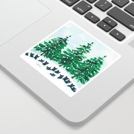 Veneto Whimsical Cats and Trees Sticker
