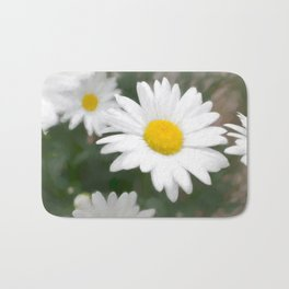 Daisies flowers in painting style 6 Bath Mat
