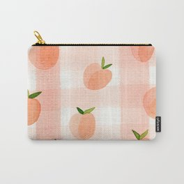 Peach Gingham Carry-All Pouch