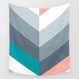 Vertical Chevron Pattern - Teal, Coral and Dusty Blues #geometry #minimalart #society6 Wall Tapestry