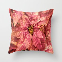 Red Spotted Pointsettia Throw Pillow
