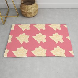 Yellow And Pink Roses Pattern Illustration Rug