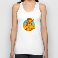piglet Tank Tops featuring Pig Farmer Holding Piglet Front Retro by retrovectors
