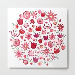 Summer Flowers Watercolor Metal Print