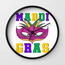 Fat Tuesday Mask Wall Clock