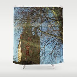 Old Tower And Leafless Branches Shower Curtain