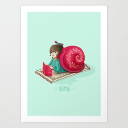 Cozy snail Art Print