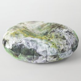 Emerald Green Marble with Gold Floor Pillow