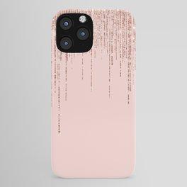 Luxury Pink Rose Gold Sparkly Glitter Fringe iPhone Case
