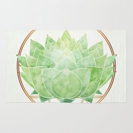 Watercolor Succulent with Metallic Gold Accents Rug