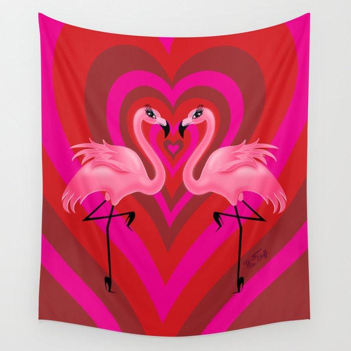 Flamingo Love Wall Tapestry