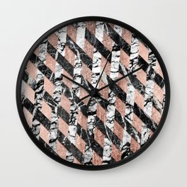 Modern Black and White Marble Rose Gold Crisscross Wall Clock