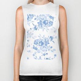 Modern navy blue white watercolor elegant floral Biker Tank