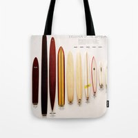 surfboard Tote Bags featuring Surfboard Evolution by John Lyman Photos