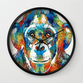 Colorful Chimp Art - Monkey Business - By Sharon Cummings Wall Clock