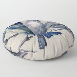 Vintage Cute Blue Birds on Branch Floor Pillow