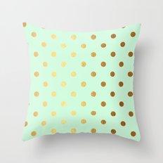 Gold polka dots on mint backround - Luxury greenery pantone pattern Throw Pillow