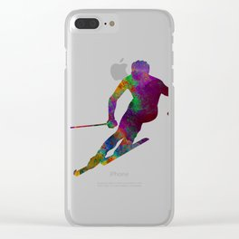 Downhill skier Clear iPhone Case