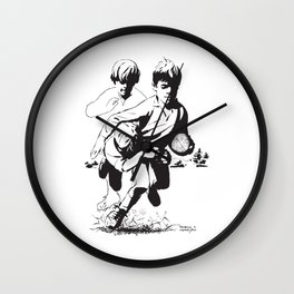 Rugby Junior Tackle by PPereyra Wall Clock