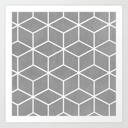 Light Grey and White - Geometric Textured Cube Design Art Print