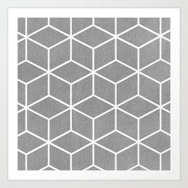 Light Grey and White - Geometric Textured Cube Design Art Print