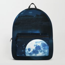Rural forest near a river night landscape with full moon Backpack