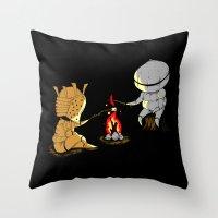 dark souls Throw Pillows featuring Bonfire Buddies - Dark Souls by Pengew