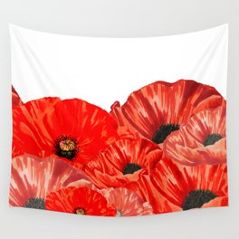 Poppies on White Wall Tapestry