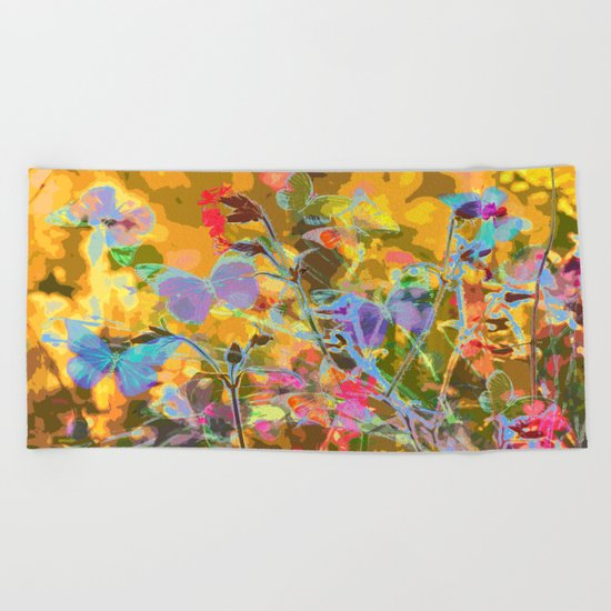 Butterflies flying in meadow - lovely colors and details - summer mood Beach Towel